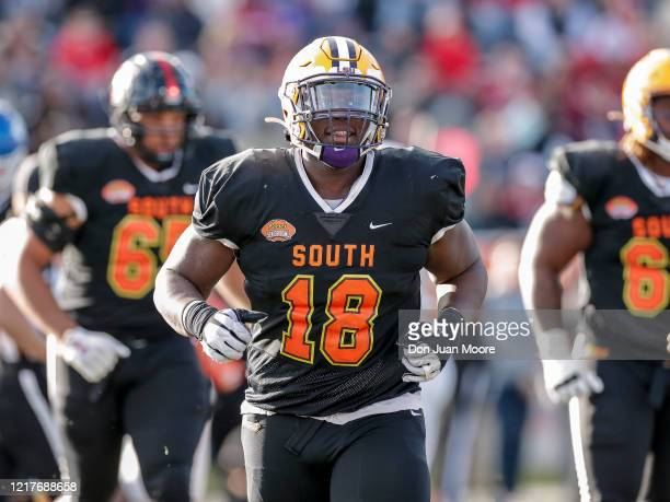 Tight End Stephen Sullivan from LSU takes to the field during the 2020 Resse's Senior Bowl at Ladd-Peebles Stadium on January 25, 2020 in Mobile,...