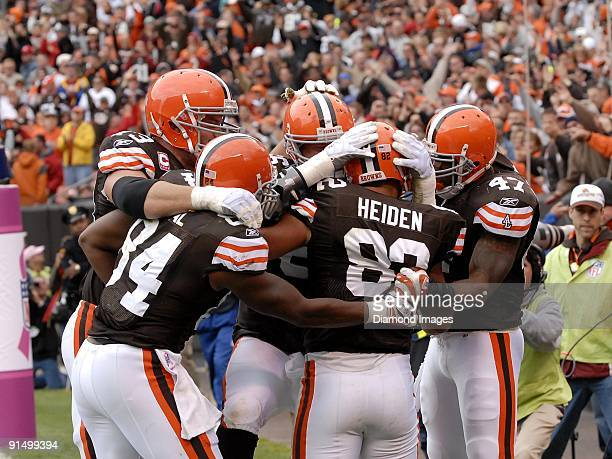 Tight end Steve Heiden of the Cleveland Browns celebrates with his teammates after catching a touchdown pass during a game on October 4 2009 against...