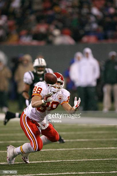 Tight End Tony Gonzalez of the Kansas City Chiefs makes a catch against the New York Jets at Giants Stadium the Meadowlands East Rutherford New...