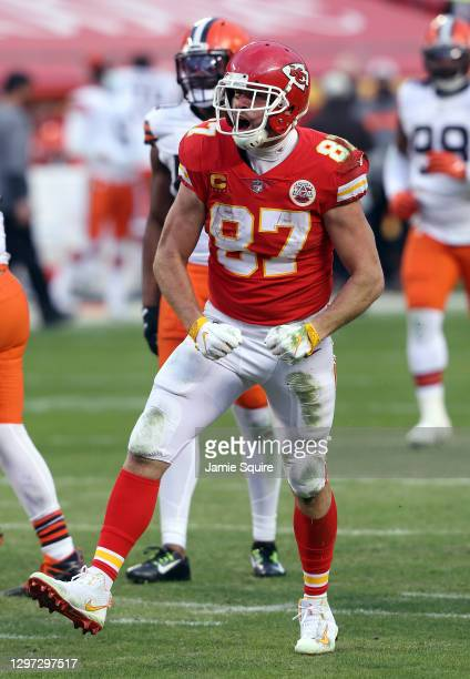 Tight end Travis Kelce of the Kansas City Chiefs celebrates after making a catch for a first down over the Cleveland Browns during the fourth quarter...