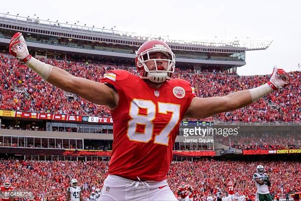 Tight end Travis Kelce of the Kansas City Chiefs celebrates in the end zone after scoring the games first touchdown agains the New York Jets at...