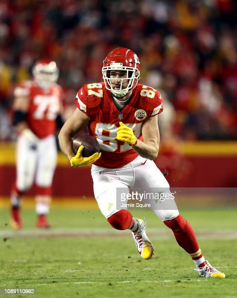 Tight end Travis Kelce of the Kansas City Chiefs in action during the game against the Oakland Raiders at Arrowhead Stadium on December 30 2018 in...