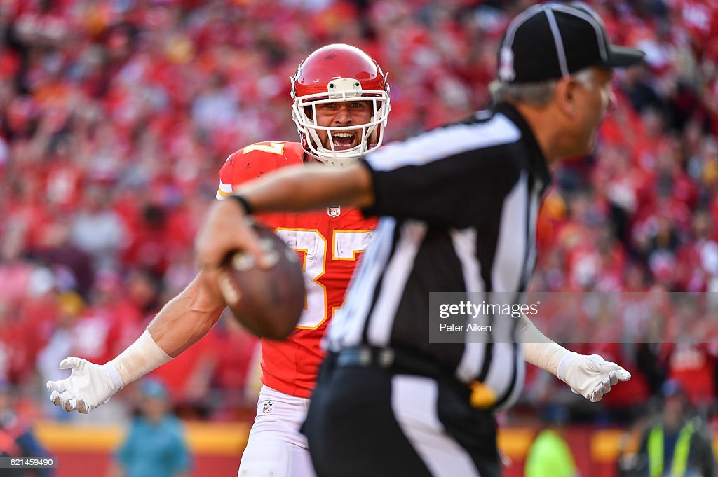 Tight end Travis Kelce #87 of the Kansas City Chiefs looks to the official for a pass interference penalty after a catch attempt against the Jacksonville Jaguars at Arrowhead Stadium during the fourth quarter of the game on November 6, 2016 in Kansas City, Missouri.