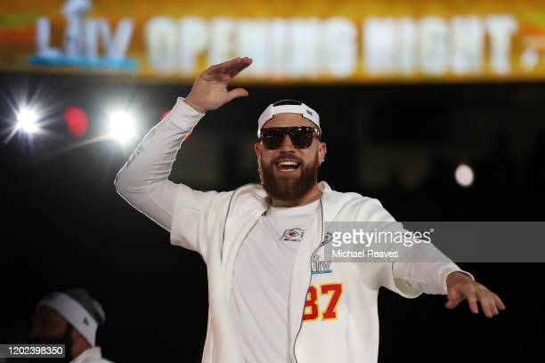 Tight end Travis Kelce of the Kansas City Chiefs makes his entrance to Super Bowl Opening Night presented by BOLT24 at Marlins Park on January 27...