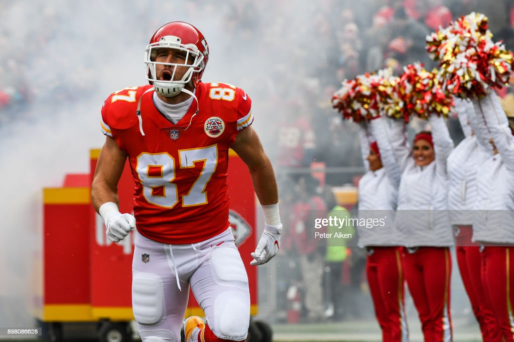 Tight end Travis Kelce #87 of the Kansas City Chiefs takes the field prior to the game against the Miami Dolphins at Arrowhead Stadium on December 24, 2017 in Kansas City, Missouri.