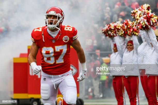 Tight end Travis Kelce of the Kansas City Chiefs takes the field prior to the game against the Miami Dolphins at Arrowhead Stadium on December 24...