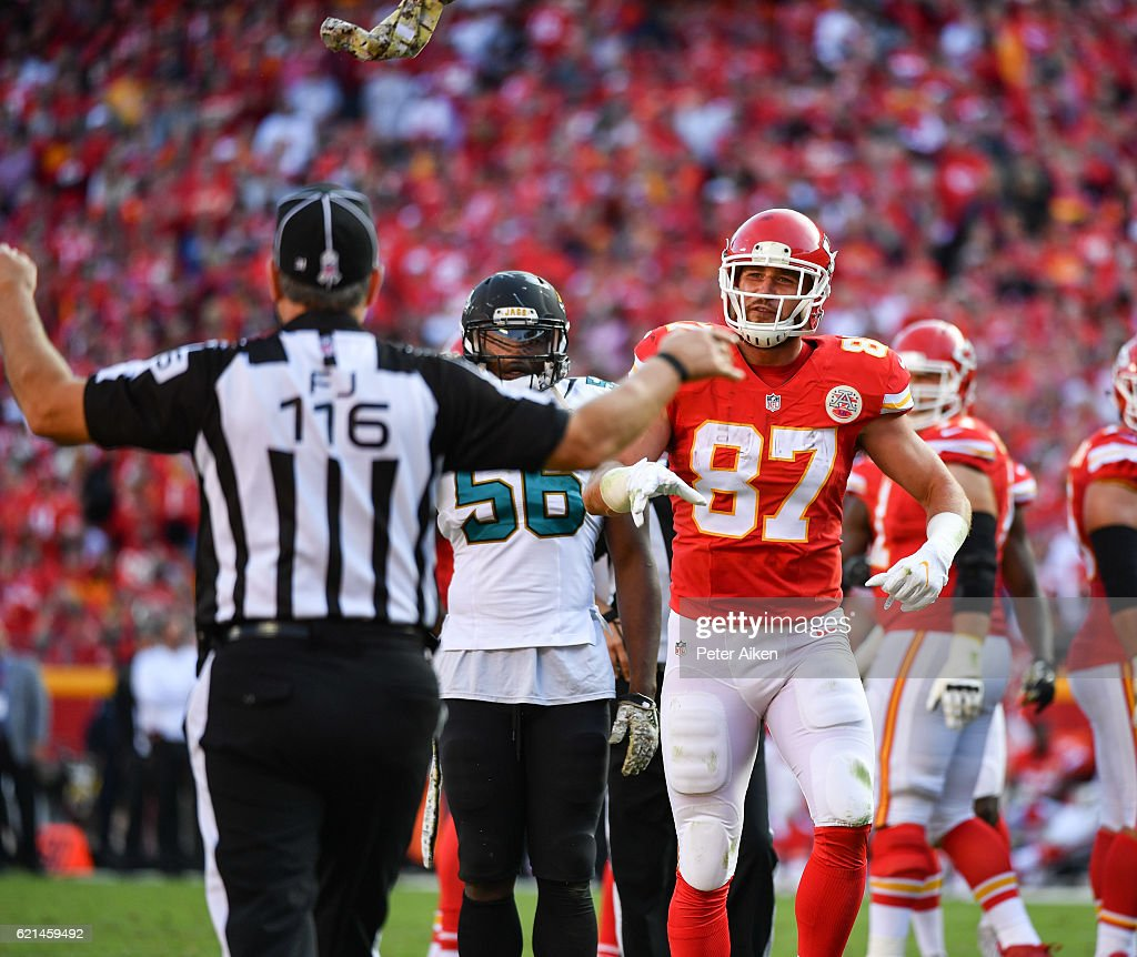 Tight end Travis Kelce #87 of the Kansas City Chiefs throws a towel towards the field judge after a non call for pass interference against the Jacksonville Jaguars in the end zone at Arrowhead Stadium during the fourth quarter of the game on November 6, 2016 in Kansas City, Missouri.