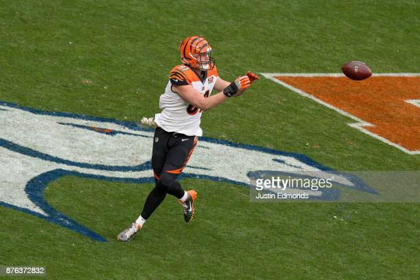 Tight end Tyler Kroft of the Cincinnati Bengals of the Cincinnati Bengals has a first quarter touchdown reception against the Denver Broncos at...