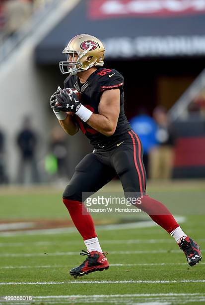 Tight end Vance McDonald of the San Francisco 49ers catches a pass against the Arizona Cardinals during an NFL football game at Levi's Stadium on...