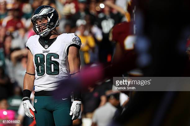 Tight end Zach Ertz of the Philadelphia Eagles looks on against the Washington Redskins in the fourth quarter at FedExField on October 16 2016 in...