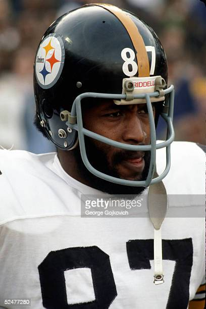 Tight end/offensive tackle Larry Brown of the Pittsburgh Steelers watches the action during a game against the Baltimore Colts at Memorial Stadium on...