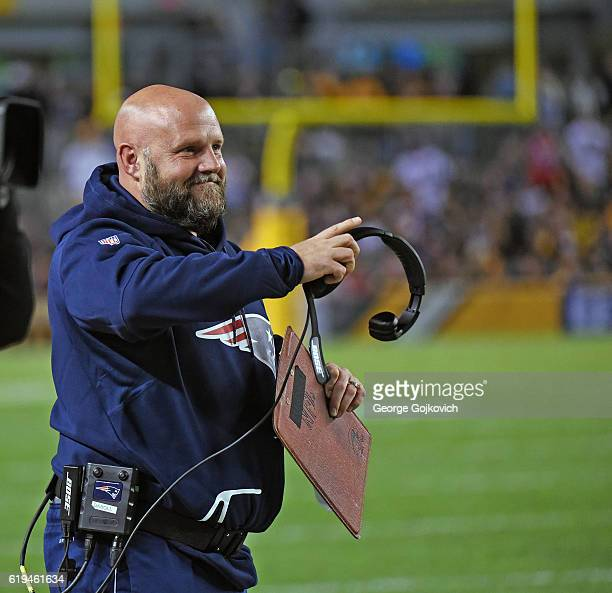 Tight ends coach Brian Daboll of the New England Patriots looks on from the sideline during a game against the Pittsburgh Steelers at Heinz Field on...