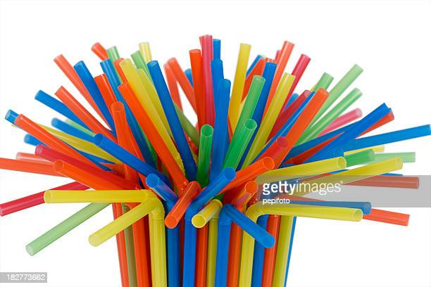 tight grouping of colorful straws - drinking straw stock pictures, royalty-free photos & images