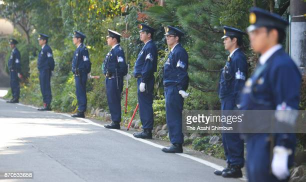 Tight security applied outside the Kasumigaseki Golf Club where US President Donald Trump plays golf with Japanese Prime Minister Shinzo Abe and...