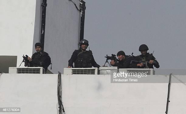 Tight security during the 'Abhinandan rally' of Prime Minister Narendra Modi at Ramlila Maidan on January 10 2015 in New Delhi India Modi appeals the...