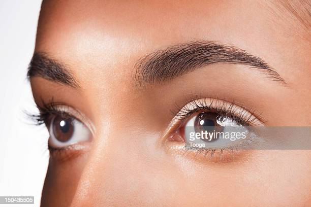 Tight shot of hispanic woman's brown eyes
