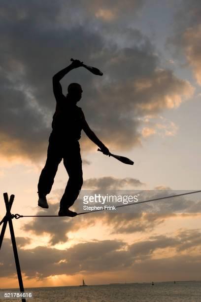 Tightrope Walker Performing in Key West