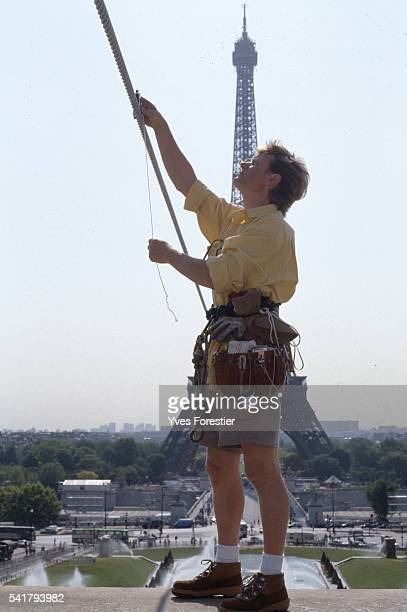 Tightrope Walker Philippe Petit next to the rope on which he will walk from the Eiffel Tower to the Trocadero