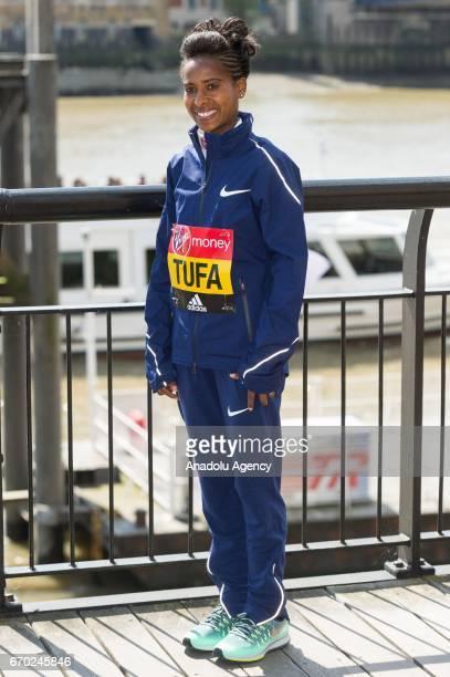 Tigist Tufa of Ethopia poses during the London Marathon photo call on April 19, 2017 in London, United Kingdom.