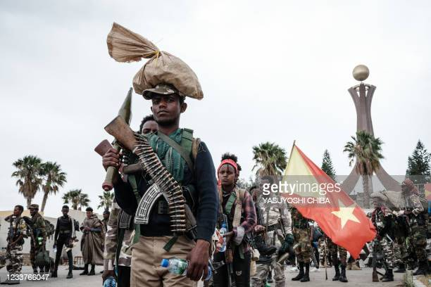 Tigray People's Liberation Front fighters prepare to leave for another field at Tigray Martyr's Memorial Monument Center in Mekele, the capital of...