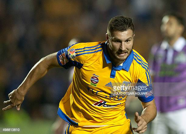 Tigres' Andre Pierre Gignac celebrates after scoring against Chiapas during the first leg of the quarter final of the Mexican Apertura 2015 football...
