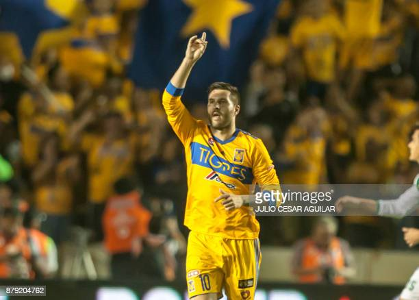 Tigres' Andre Pierre Gignac celebrates after scoring against Leon during their Mexican Apertura 2017 tournament football match at the Universitario...
