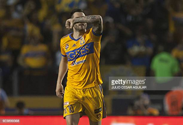 Tigres' Andre Pierre Gignac celebrates after scoring against Morelia during the Mexican Clausura 2018 tournament football match at the Universitario...