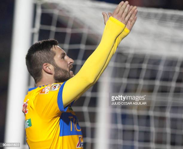 Tigres' Andre Pierre Gignac celebrates after scoring against Santos during their Mexican Clausura 2018 tournament football match at the Universitario...