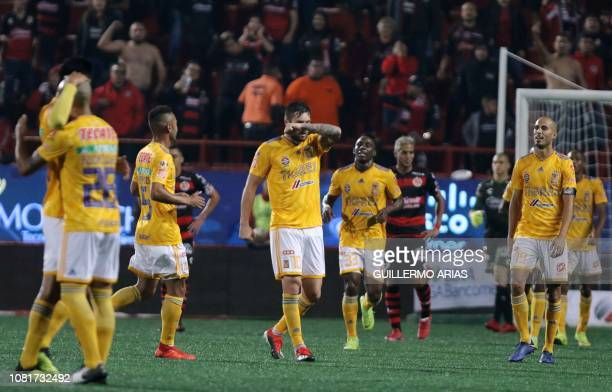 Tigres' AndrePierre Gignac and temmates celebrate after scoring a goal during the Mexican Clausura 2019 tournament football match between Club...