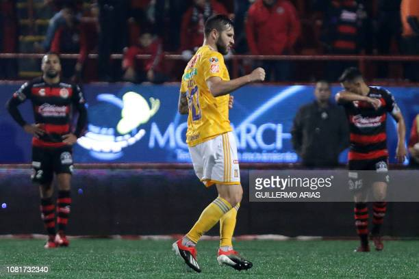 Tigres' AndrePierre Gignac celebrates after scoring a goal during the Mexican Clausura 2019 tournament football match between Club Tijuana and Tigres...