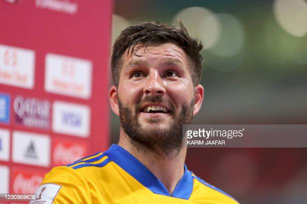 Tigres' forward Andre-Pierre Gignac smiles during a post-match interview for the FIFA Club World Cup second round football match between Mexico's...