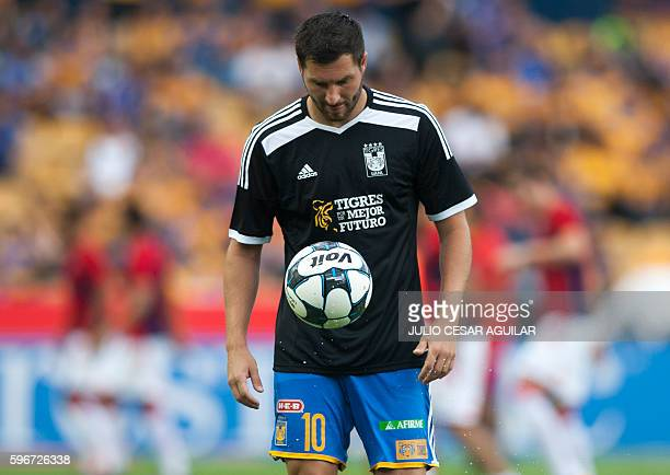 Tigres' French footballer AndrePierre Gignac warms up before the start of their Mexican Apertura 2016 tournament football match against Veracruz at...