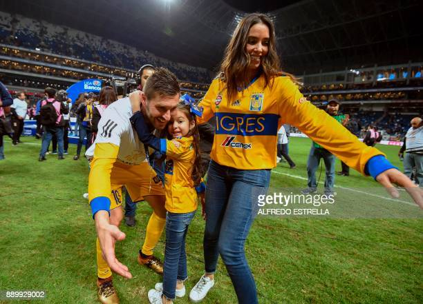 Tigres French player Andre Pierre Gignac celebrates his victory with his family after winning the Mexican Apertura 2017 football tournament final...