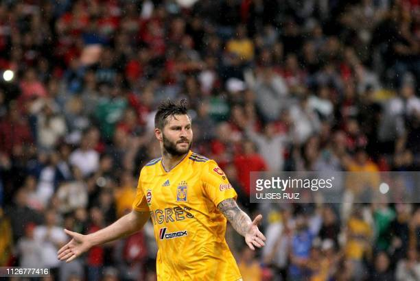 TOPSHOT Tigres French player AndrePierre Gignac celebrates after scoring his 100th goal with Tigres during the Mexican Clausura 2018 tournament...
