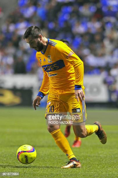 Tigres' French player AndrePierre Gignac controls the ball during their Mexican Clausura tournament football match against Puebla at Cuauhtemoc...