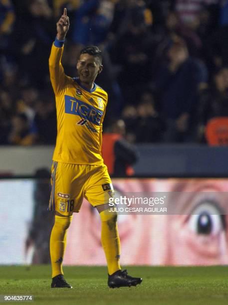 Tigres' Ismael Sosa celebrates after scoring against Santos during their Mexican Clausura 2018 tournament football match at the Universitario stadium...