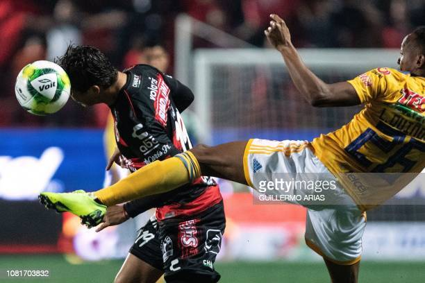 Tigres' Luis Quinones vies for the ball with Tijuana's Erick Torres during the Mexican Clausura 2019 tournament football match between Club Tijuana...