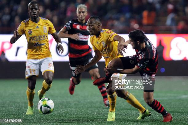 Tigres' Luis Quinones vies for the ball with Tijuana's Jose Rivero during the Mexican Clausura 2019 tournament football match between Club Tijuana...