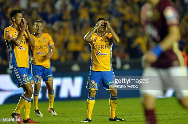 Tigres´ midfielder Javier Aquino reacts after failing a chance to score against America during the Final of Mexican Apertura 2016 tournament football...