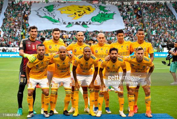 Tigres' players pose before the 2019 Mexican Clausura tournament final football match against Leon in Leon, Guanajuato state, Mexico on May 26, 2019.