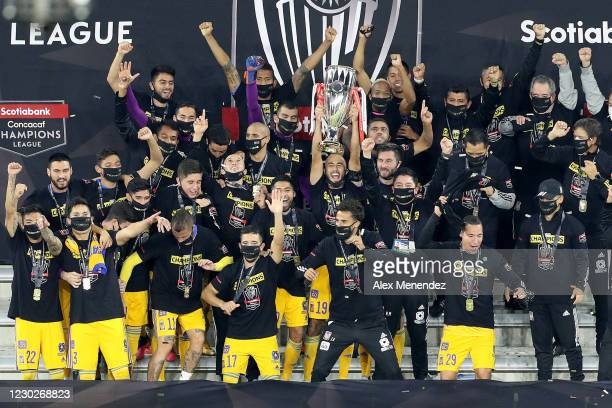 Tigres UANL celebrates the championship win over Los Angeles FC during the CONCACAF Champions League final game at Exploria Stadium on December 23,...