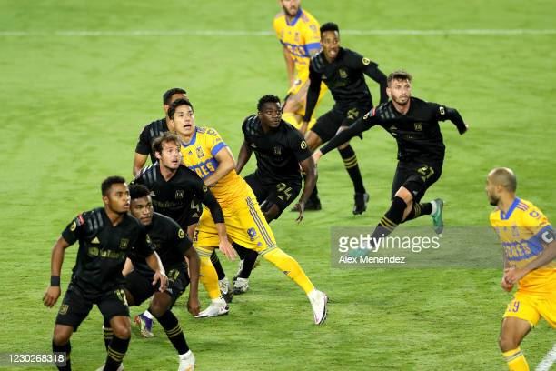 Tigres UANL players and Los Angeles FC players look at the ball on a corner kick during the CONCACAF Champions League final game at Exploria Stadium...