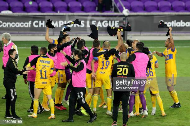 Tigres UANL players celebrate the championship win over Los Angeles FC during the CONCACAF Champions League final game at Exploria Stadium on...