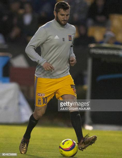 Tigres's French footballer AndrePierre Gignac warms up before the start of the Mexican Causura 2018 tournament football match against Santos at the...