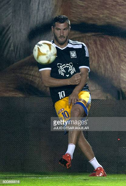Tigres's player French footballer AndrePierre Gignac warms up before the start of their first leg of the final of the Mexican Apertura 2015...