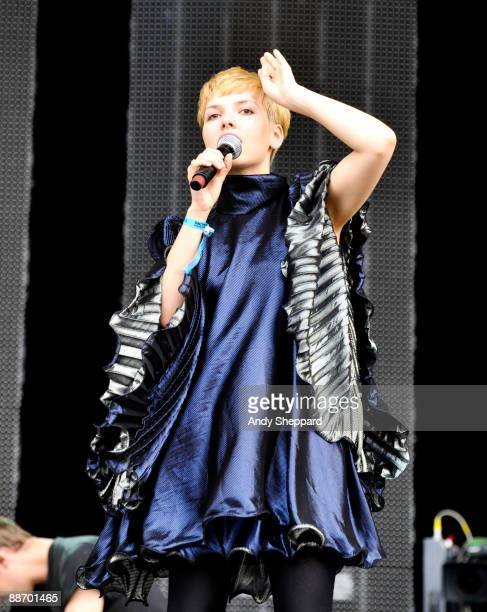 Tigs of Chew Lips performs on stage on day 1 of Hard Rock Calling at Hyde Park on June 26 2009 in London England