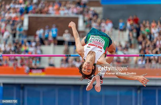 Tihomir Ivanov of Bulgaria opening up the competition during the men's high jump finals at the Olympic Stadium during Day Five of the 23rd European...