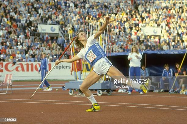 Tiina Lillak of Finland in action during the Javelin event in the World Championships at the Olympic Stadium in Helsinki Finland Lillak won the event...