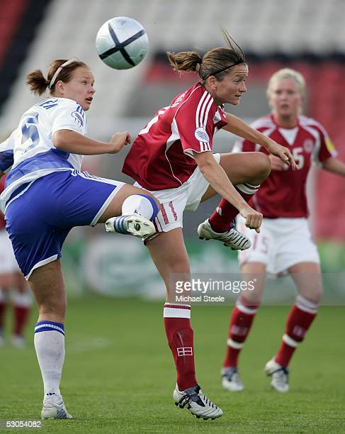 Tiina Salmen of Finland and Merete Pedersen of Denmark in action during the Women's UEFA European Championship 2005 Group A match between Finland and...