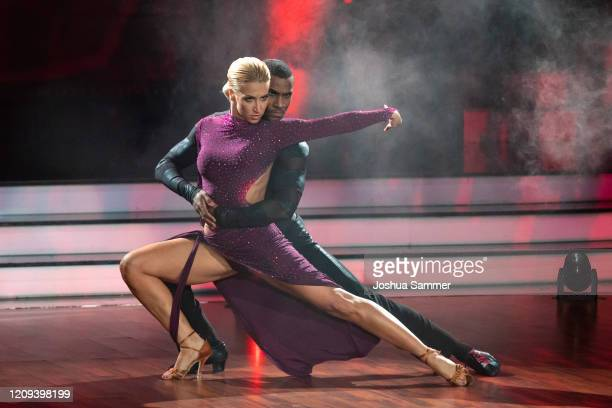 """Tijan Njie and Kathrin Menzinger perform on stage during the 1st show of the 13th season of the television competition """"Let's Dance"""" on February 28,..."""